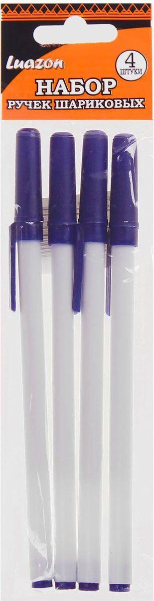 Luazon Набор шариковых ручек синие 4 шт цвет корпуса белый синий1035867Luazon - набор классических шариковых ручек с синим колпачком. Шариковый пишущий узел и паста на масляной основе сделали такой вид ручек самым распространенным и популярным во всем мире. Шариковые ручки самые экономичные, их надолго хватает. Писать этими ручками легко и удобно, густые чернила не растекаются на бумаге и не вытекают при переноске.