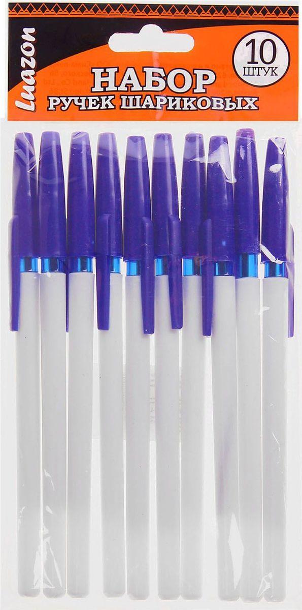 Luazon Набор шариковых ручек 10 шт цвет корпуса белый1035868Набор Luazon - набор классических шариковых ручек с синим колпачком. Шариковый пишущий узел и паста на масляной основе сделали такой вид ручек самым распространенным и популярным во всем мире. Шариковые ручки самые экономичные, их надолго хватает. Писать этими ручками легко и удобно, густые чернила не растекаются на бумаге и не вытекают при переноске.