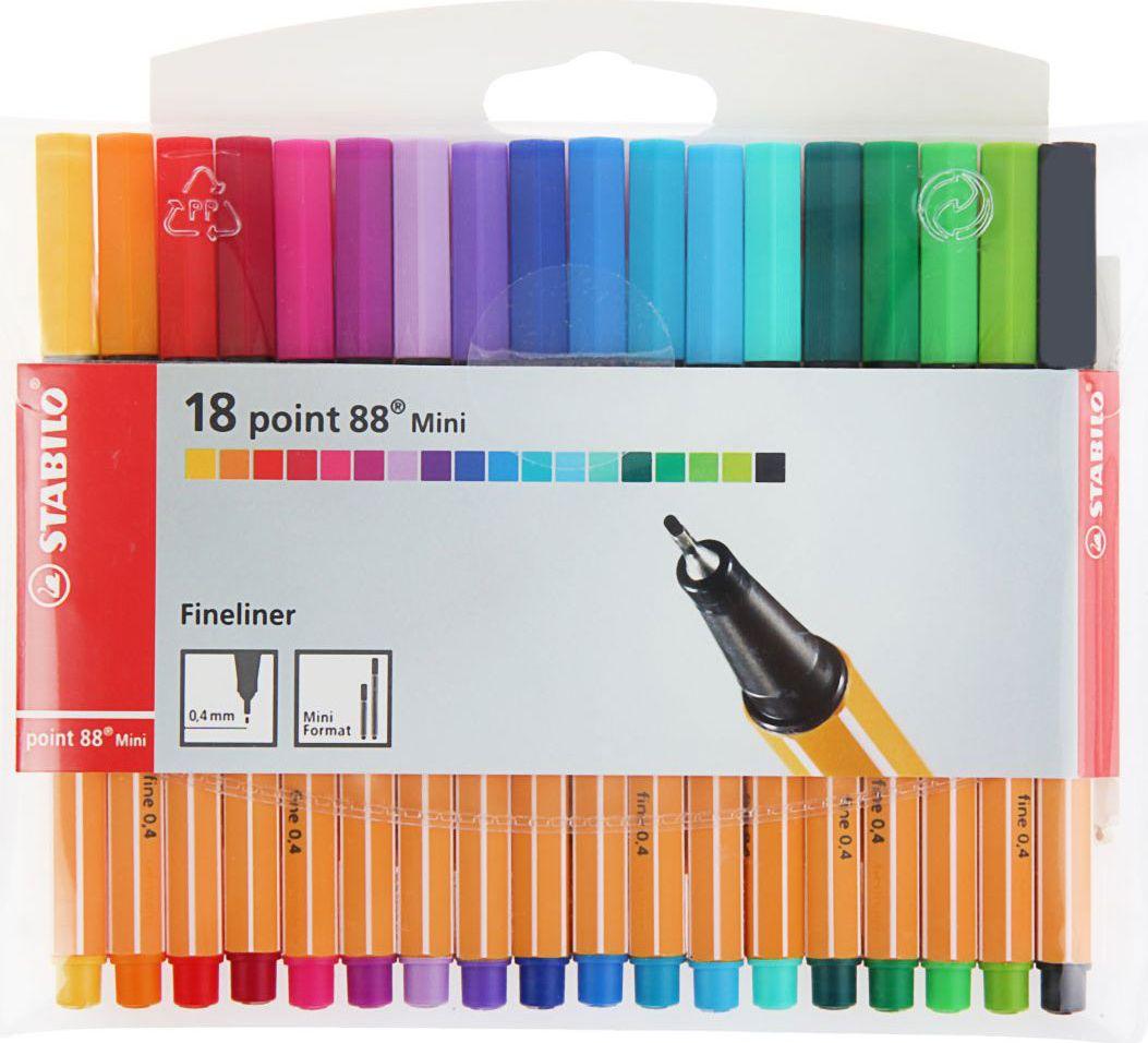 Stabilo Набор капиллярных ручек Point 88 Mini 18 цветов1320648