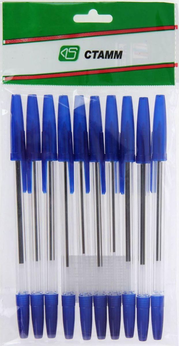 Стамм Набор шариковых ручек Оптима цвет чернил синий 10 шт1382695Шариковая ручка Стамм Оптима имеет прозрачный пластиковый корпус, что позволяет контролировать уровень расхода чернил. Цвет колпачка соответствует цвету чернил.