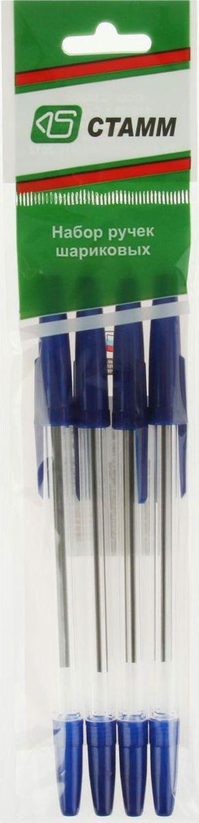 Стамм Набор шариковых ручек Оптима цвет чернил синий 4 шт1889838Шариковые ручки Стамм Оптима имеют прозрачный пластиковый корпус, что позволяет контролировать уровень расхода чернил. Цвет колпачка соответствует цвету чернил.