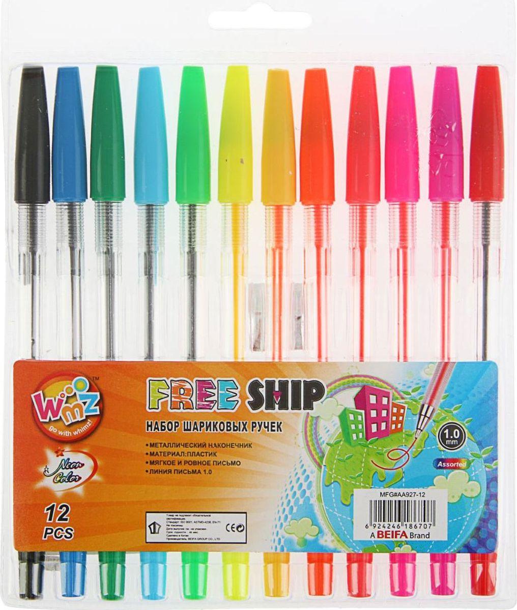 Beifa Набор шариковых ручек 12 цветов1943093Набор шариковых ручек Beifa имеет прозрачный пластиковый корпус, сквозь который всегда виден запас чернил. Рифленая поверхность передней части корпуса предотвращает скольжение пальцев при письме. Цвет колпачка соответствует цвету чернил.