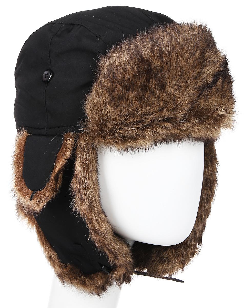 Шапка мужская Mutka Axxon, цвет: черный, коричневый. 1814Е. Размер М (56/57) шапки ушанки olle шапка ушанка