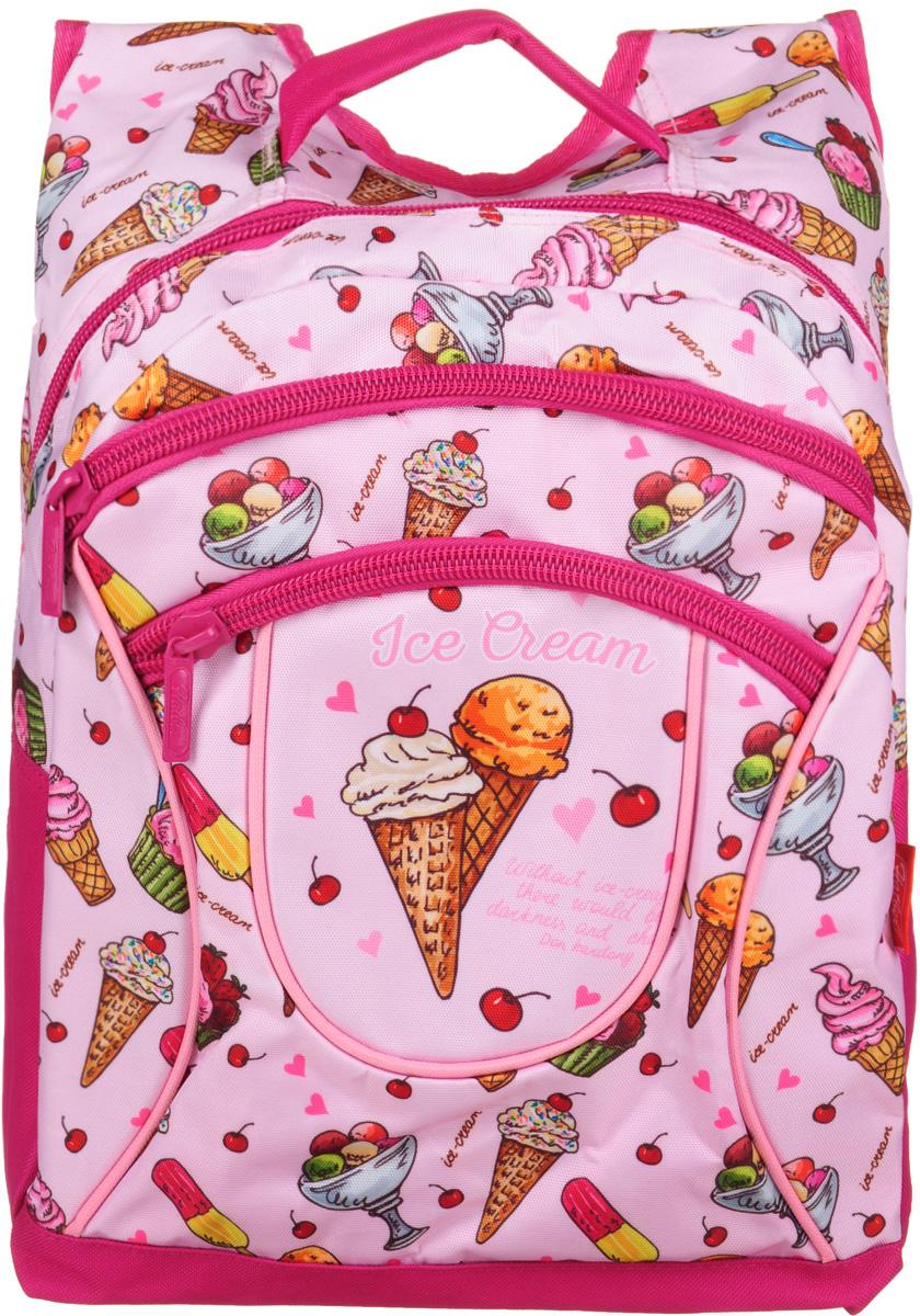 Hatber Рюкзак Basic Plus Ice CreamNRk_19080Рюкзак Hatber Basic Plus Ice Cream - это стильный молодежный рюкзак, отличающийся легкостью и вместительностью. Изделие выполнено из полиэстера и оформлено принтом с изображением мороженого.Рюкзак имеет 2 вместительных отделения, закрывающихся на застежку-молнию. Внутри основного отделения расположен дополнительный карман. На лицевой стороне имеется карман на молнии. Текстильная ручка обеспечивает возможность переноски рюкзака в одной руке. Дно и спинка изделия уплотнены. Широкие мягкие лямки в форме маечки гарантируют максимальный комфорт.