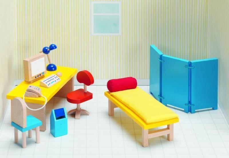 Goki Мебель для кукольной больницы Кабинет врача 13 предметов мебель для кукольного домика купить недорого