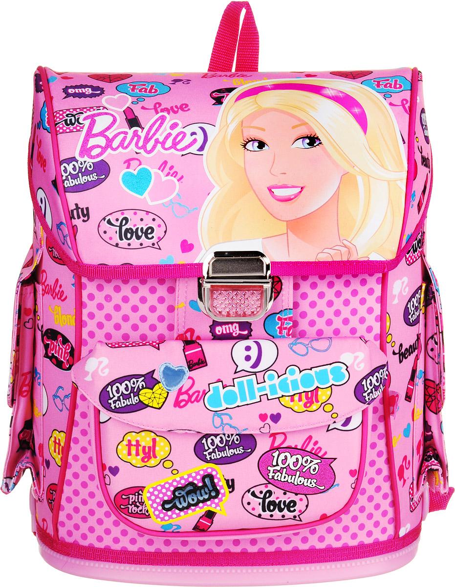 Barbie Ранец школьный Barbie цвет светло-розовыйBRDLM-12T-568Школьный ранец Barbie отличается не только красочностью, но и практичностью. Модель изготовлена из полиэстера и оформлена изображением куклы Барби. Модель имеет одно основное отделение, которое закрывается на клапан с замком-защелкой. Внутри отделения имеются две мягкие перегородки для тетрадей или учебников и небольшой кармашек на застежке-молнии. С внутренней стороны клапана расположен прозрачный кармашек для расписания уроков. На лицевой стороне изделия имеется накладной карман под клапаном с липучкой. По бокам рюкзака расположены вместительные наружные карманы под клапанами на липучках. Модель каркасного типа сохраняет изначальную форму рюкзака неизменной при разной степени загруженности, что обеспечивает сохранность содержимого и способствует правильному распределению нагрузки. Спинка выполнена с использованием вставки из сверхлегкого пластикового полотна с воздушными каналами, что позволяет при низком весе обеспечить необходимую высокую прочность и жесткость конструкции. Специально расположенные поролоновые элементы с воздухообменной сеткой служат для правильного и безопасного распределения нагрузки на спину ребенка. Лямки рюкзака специальной S-образной формы с поролоном и воздухообменной сеткой, регулируются по длине. Такие конструктивные особенности помогут обеспечить максимальный комфорт при ношении рюкзака за спиной ребенку любой комплекции. Прочное пластиковое дно защищает от загрязнений. Практичный ранец с ярким принтом непременно сделает походы вашего ребенка за знаниями еще интереснее.