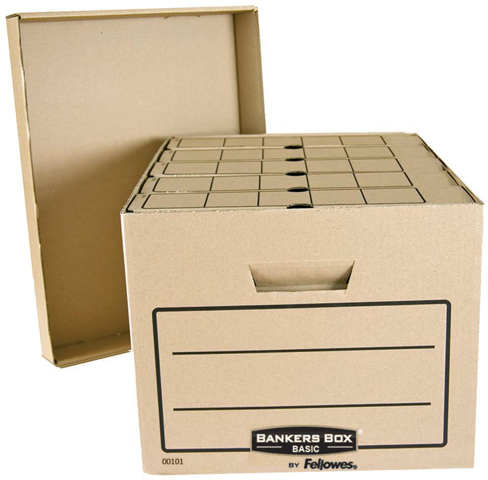Fellowes Bankers Box Basic архивный короб 335 x 445 x 270 ммFS-00101Архивный короб Bankers Box Basics FS-00101 обеспечивает компактное хранение и эргономичную организацию рабочего пространства. Отличается высокой прочностью и амортизационными качествами. Удобная сборка. Усиленные ручки для переноски. Поля для надписей с двух сторон короба. УВАЖАЕМЫЕ КЛИЕНТЫ!Обращаем ваше внимание, что изображенные на фотографии папки внутри короба не входят в комплектацию, а служат лишь для демонстрации способа применения/эксплуатации данного изделия.