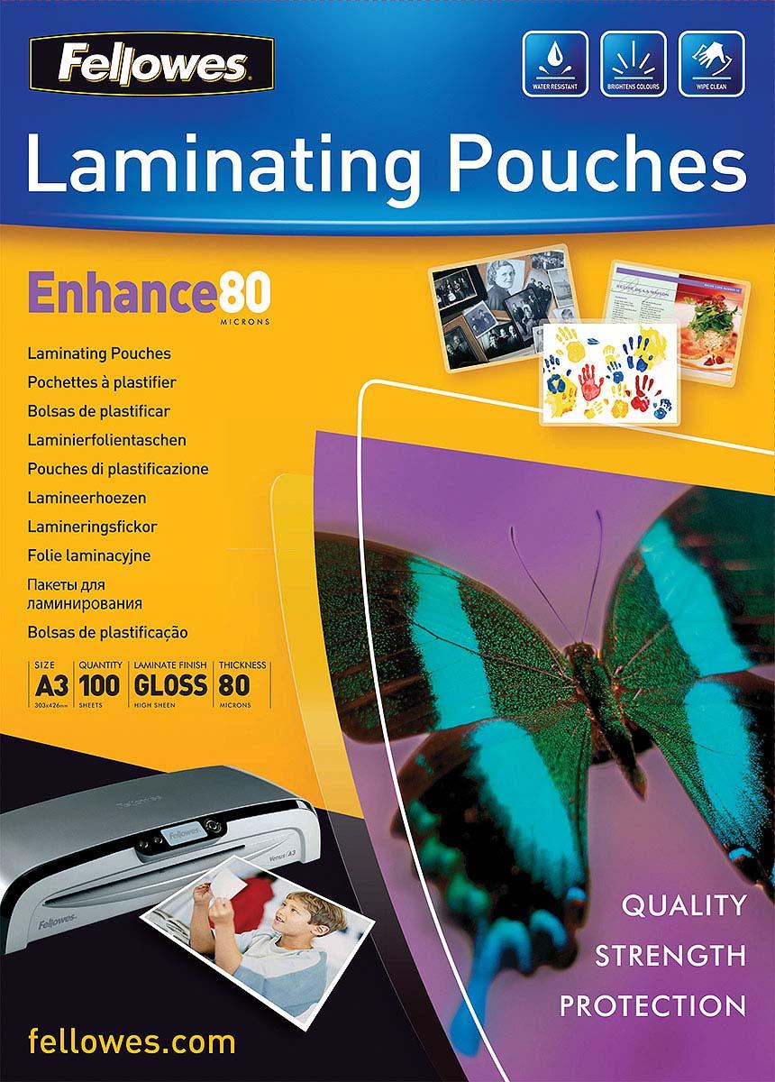 Fellowes А3 FS-53062 пленка для ламинирования, 80 мкм (100 шт)FS-53062Пленка для горячего ламинирования глянцевая, с высоким содержанием полиэстера (50%). Используется для защиты документов от влаги, загрязнения, механических повреждений, придания жесткости и яркости. Обладает высокой прозрачностью.