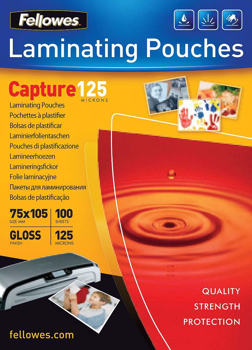 Fellowes FS-53069 75 х 105 мм пленка для ламинирования, 125 мкм (100 шт)FS-53069Пленка для горячего ламинирования глянцевая, с высоким содержанием полиэстера (50%). Используется для защиты документов от влаги, загрязнения, механических повреждений, придания жесткости и яркости. Обладает высокой прозрачностью.