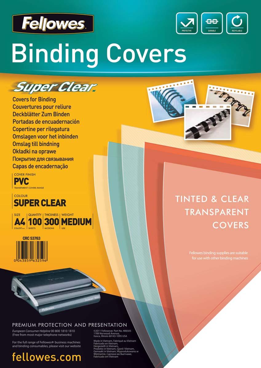 Fellowes Transparent А4 обложка для переплета, 300 мкм (100 шт)FS-53763Обложка Transparent предназначена для оформления документов. Обложка выполнена из прозрачного ПВХ 300 мкм., 100 шт. в розничной упаковке. Идеально подходит как для переплета на пластиковую, так и на металлическую пружины.