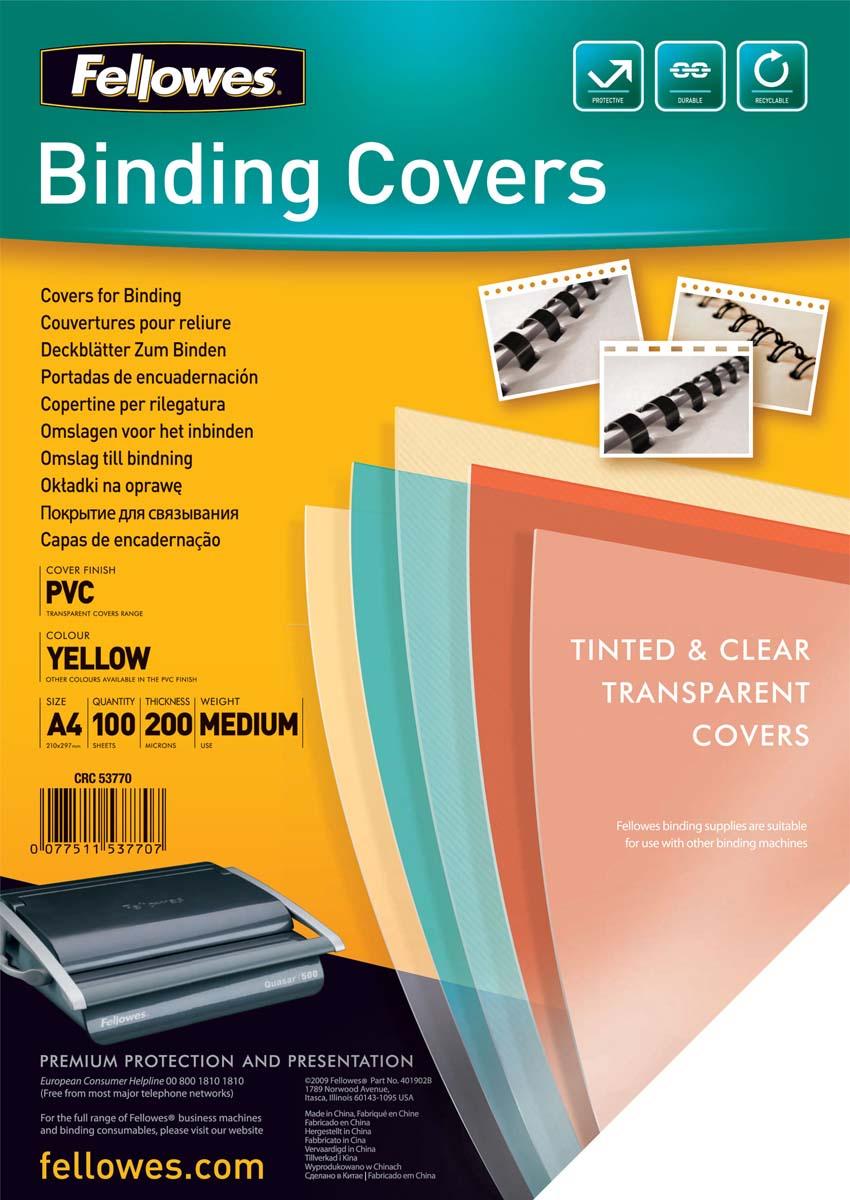 Fellowes Transparent А4, Yellow обложка для переплета, 200 мкм (100 шт)FS-53770Обложка Transparent предназначена для оформления документов. Обложка выполнена из прозрачного ПВХ 200 мкм., 100 шт. в розничной упаковке. Идеально подходит как для переплета на пластиковую, так и на металлическую пружины.