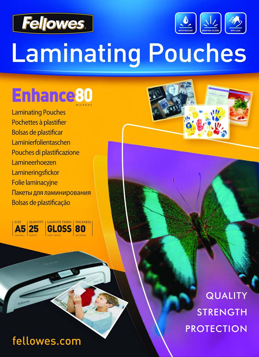 Fellowes A5 FS-53960 пленка для ламинирования, 80 мкм (25 шт)FS-53960Пленка для горячего ламинирования глянцевая, с высоким содержанием полиэстера (50%). Используется для защиты документов от влаги, загрязнения, механических повреждений, придания жесткости и яркости. Обладает высокой прозрачностью.Уважаемые клиенты! Обращаем ваше внимание на то, что упаковка может иметь несколько видов дизайна. Поставка осуществляется в зависимости от наличия на складе.