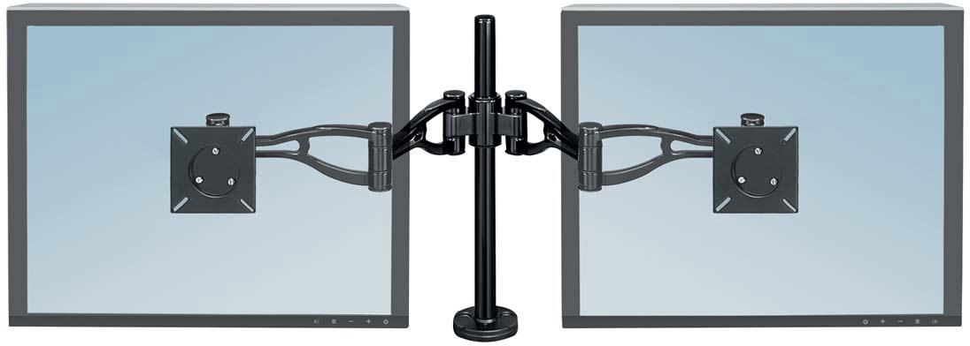 Fellowes FS-80417 кронштейн для 2 мониторовFS-80417Кронштейн для двух мониторов Professional SeriesШирокие возможности регулировки положения экрана позволяют найти максимально комфортное положение экрана для обзора.Кронштейн крепится легко и быстро – вам не понадобятся специальные приспособления для этого.Приподнимает монитор над поверхностью стола на высоту от 88 мм до 419 мм, соответственно нижняя часть монитора располагается минимально на расстоянии 63 мм от поверхности стола, максимально – 686 мм.Угол наклона экрана вверх или вниз регулируется на +/- 37°, вправо или влево экран вращается на 360°.Крепление кронштейна подходит для столешниц толщиной от 25 мм до 76 мм. Если крепление кронштейна осуществляется через специальное отверстие в столе для коммуникаций – его минимальный диаметр должен составлять 82 мм. Дополнительный инструмент для крепления не требуется.Соответствует стандарту креплений VESA. Подходит для мониторов весом до 10 кг каждый.