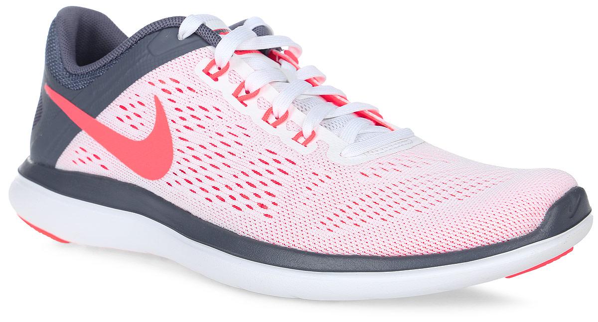 Кроссовки для бега женские Nike Flex 2016 Rn, цвет: белый, серый, коралловый. 830751-101. Размер 8,5 (40) кроссовки для бега женские nike flex 2016 rn цвет синий черный 830751 500 размер 9 40 5