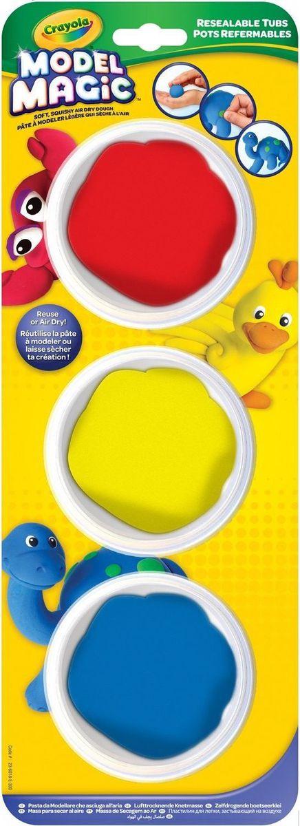 Crayola Застывающий пластилин 3 цвета23-6018Волшебный застывающий пластилин Crayola включает в себя пластилин красного, желтого и синего цветов. Чтобы ваш малыш не придумал слепить - эти цвета ему будут просто необходимы. Пластилин имеет приятный запах, не прилипает к рукам и великолепно лепится. Каждый цвет пластилина упакован в прозрачную баночку из пластика, открыть которую не составит никакого труда.Если вашему малышу уже исполнилось четыре года - то, не раздумывая, порадуйте его этим набором, чтобы он смог радовать родителей своим творчеством, где помимо развития фантазии сможет разрабатывать мелкую моторику рук.