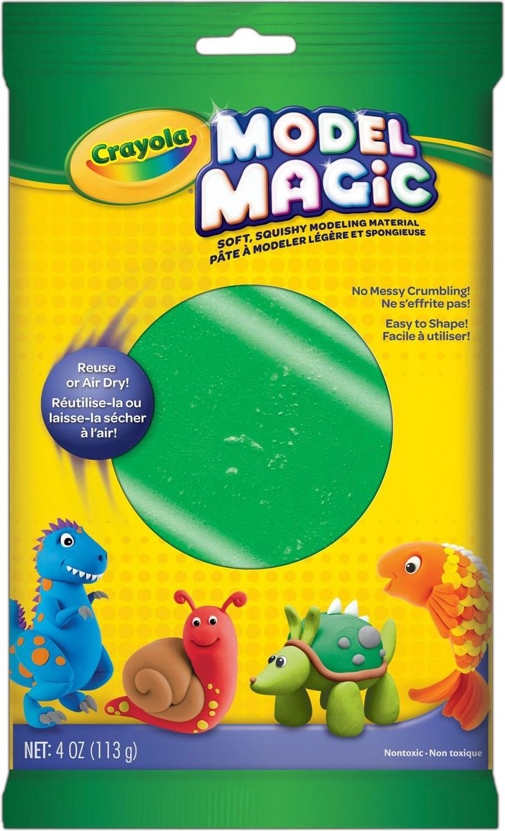Crayola Застывающий пластилин цвет зеленый 113 г57-4444Волшебный застывающий пластилин Crayola зеленого цвета позволит вашему ребенку создать множество удивительных поделок. Где не пригодится зеленый цвет? Если малыш решит слепить дерево, крышу домика или же фигурку своего любимого персонажа - Шрэка? Без мягкого зеленого пластилина просто не обойтись.В красочной прямоугольной упаковке вы найдете пластилин с приятным запахом, который обладает волшебными свойствами - он прекрасно лепится и не прилипает к вашим рукам.