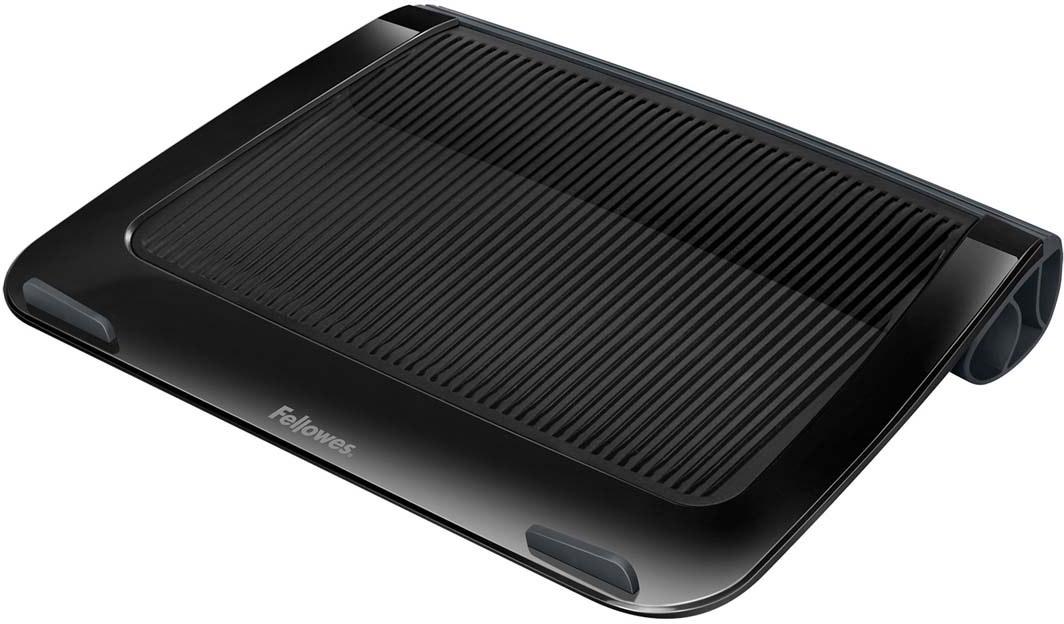 """Fellowes I-Spire Series, Black подставка для ноутбука до 17, до 6 кгFS-94731Приподнимает экран ноутбука до удобного угла обзора, тем самым снимая напряжение в области шеи и плеч, делая работу за ноутбуком комфортной.Рифленая поверхность способствует охлаждению ноутбука.Ограничители на передней панели обеспечивают устойчивое положение ноутбука на подставке.Подходит для ноутбуков до 17"""".Мягкая силиконовая подкладка обеспечивает удобство при работе с ноутбуком вне рабочей поверхности, держа ноутбук на коленях.Размер подставки: В42 х Ш285 х Г380 мм.Поставляется в сборе.Гарантия 1 год"""