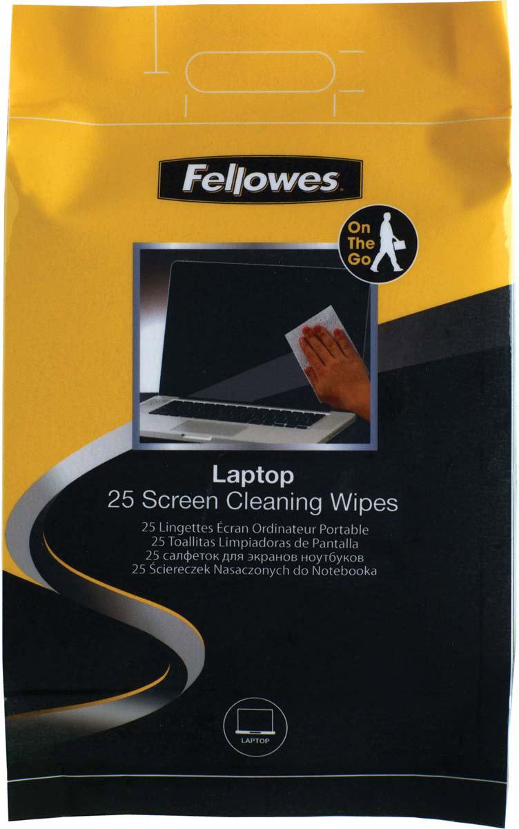 Fellowes FS-99674 чистящие салфетки для экранов ноутбуков (25 шт)FS-99674Чистящие салфетки FS-99674 идеально подходят для чистки экранов ноутбука. 25 влажных салфеток, упакованных в герметичную и удобную для транспортировки упаковку. Не содержат спирта, дерматологически безопасны, антистатичны и не оставляют разводов.