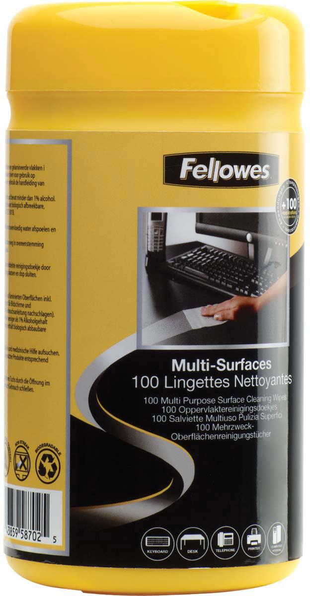 Fellowes FS-99715 салфетки для любых поверхностей, 100 штFS-99715Влажные салфетки выполнены из крепированной бумаги. Подходят для любых поверхностей за исключением экранов и стекла.Удобная туба с плотно закрывающейся крышкой предотвращает высыхание.Не оставляют разводов.Антистатическая формула предотвращает оседание пыли.Минимальное содержание спиртов - менее 1%.