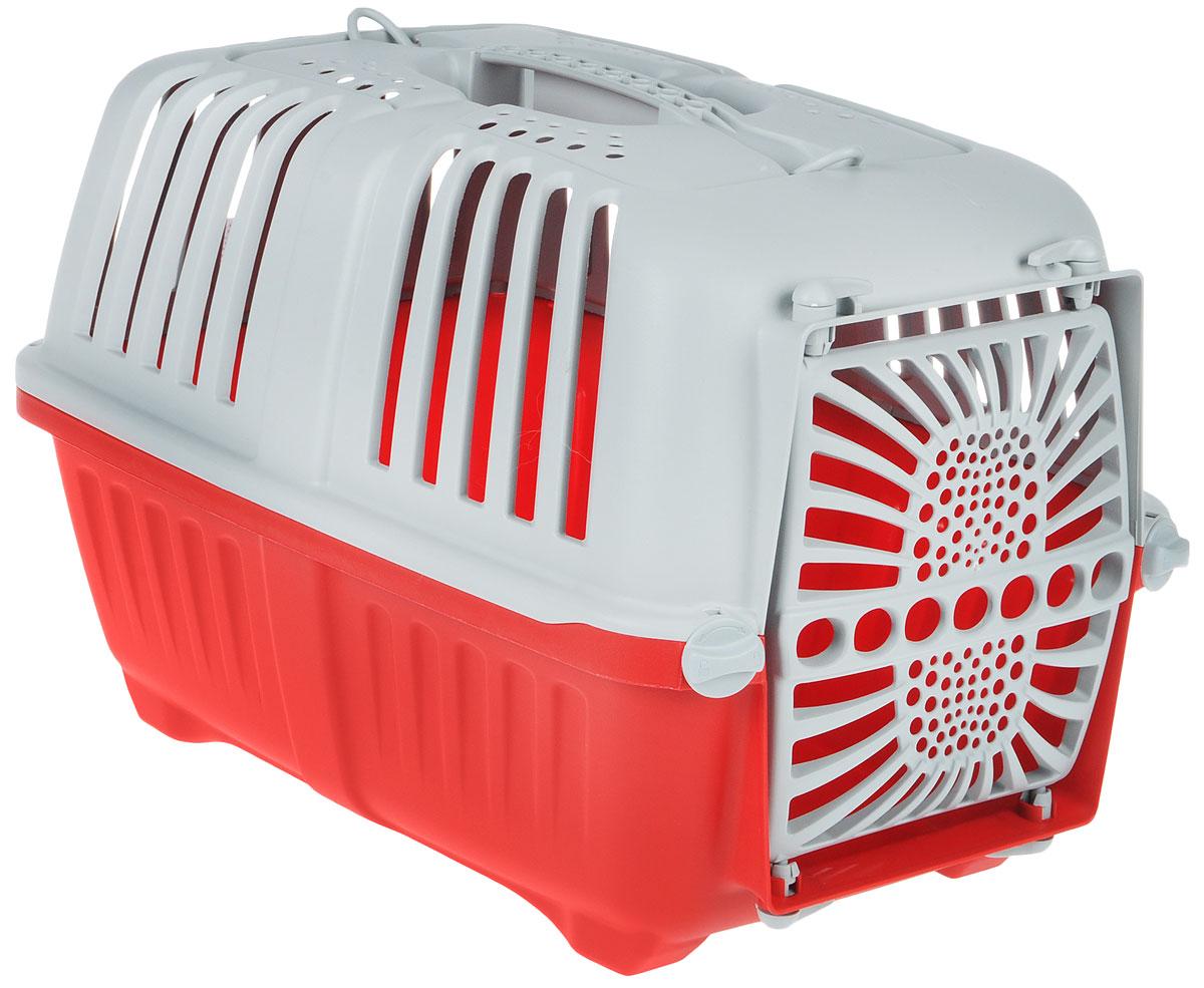 Переноска для животных MPS Pratiko, цвет: красный, серый, 48 см х 31,5 см х 33 смS01130100Переноска MPS Pratiko, выполненная из легкого пластика, прекрасно подойдет для транспортировки кошек и собак мелких пород. Дно переноски снабжено устойчивыми ножками. Крышка с отверстиями для вентиляции оснащена влитой ручкой для большей безопасности при транспортировке и двумя петлями для крепления ремня. Крышка и дверь крепятся к поддону на поворотные фиксаторы. Переноска легко собирается.