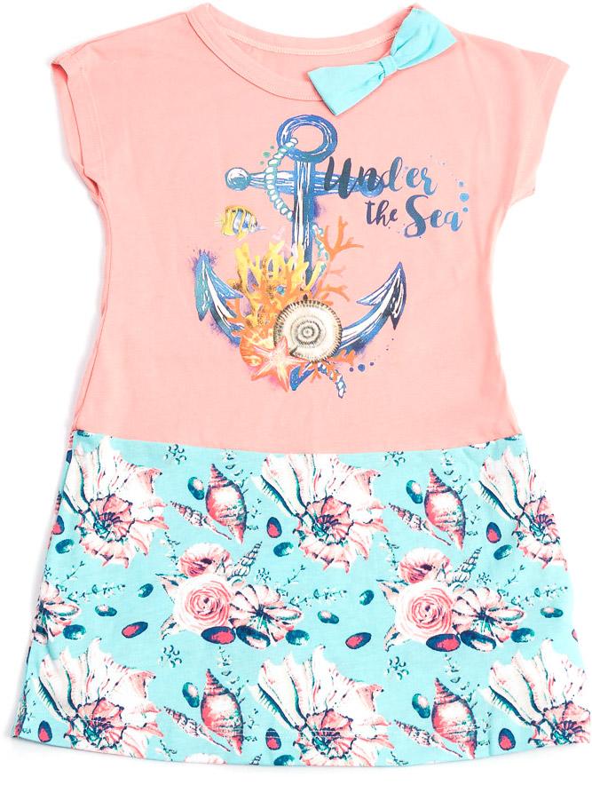 Платье для девочки Mark Formelle, цвет: розовый, голубой. 891-0_14925. Размер 134890-0_14925/891-0_14925Модное платье Mark Formelleвыполнено из натурального хлопка. Модель с круглым вырезом горловины и короткими рукавами оформлена стильным принтом и бантиком на горловине.