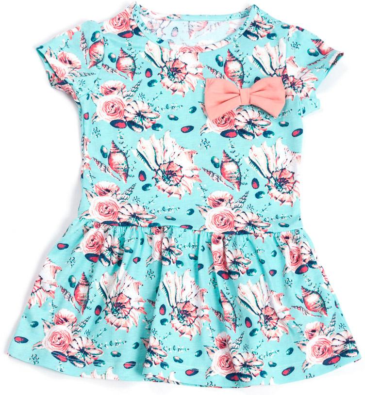 Платье для девочки Mark Formelle, цвет: голубой, розовый. 885-0_14923. Размер 146884-0_14923/885-0_14923Модное платье Mark Formelleвыполнено из натурального хлопка. Модель с круглым вырезом горловины и короткими рукавами оформлена цветочным принтом и бантиком.