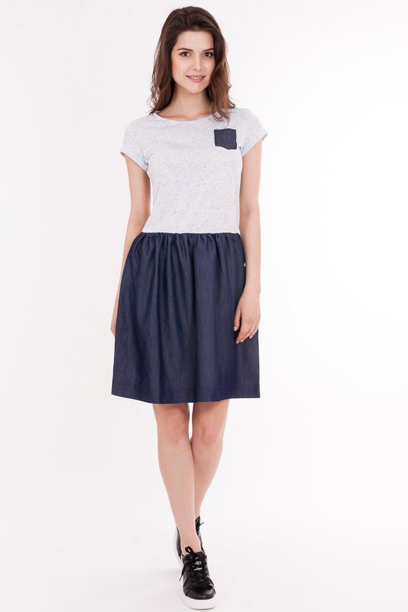 Платье Mark Formelle, цвет: белый, темно-синий. 2059-14_15622. Размер 422059-14_15622Модное платье Mark Formelleвыполнено из высококачественного материала. Модель с круглым вырезом горловины и короткими рукавами.