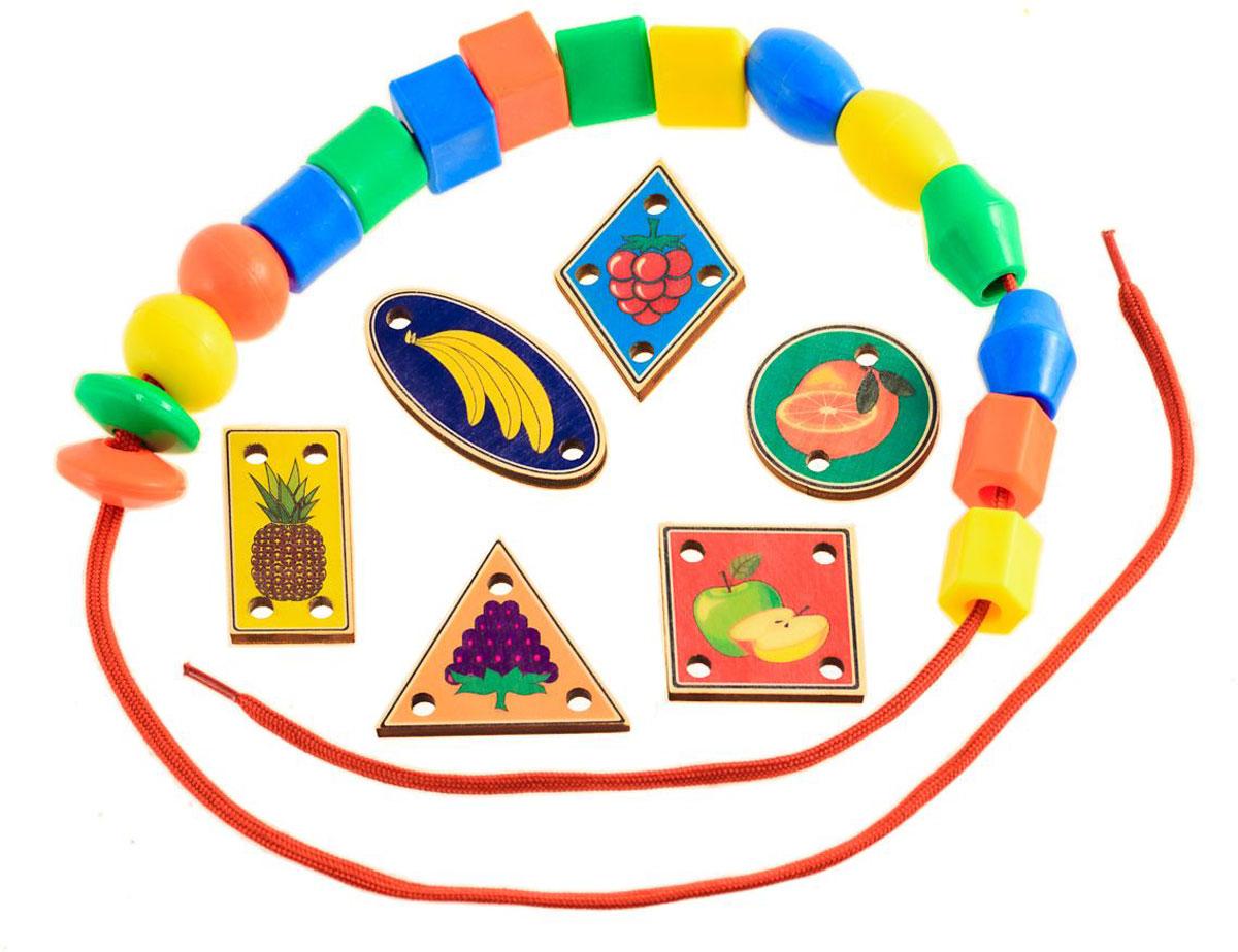 Развивающие деревянные игрушки Игра-шнуровка Веселые фигуры Фрукты развивающие деревянные игрушки обучающая игра крестики нолики классика