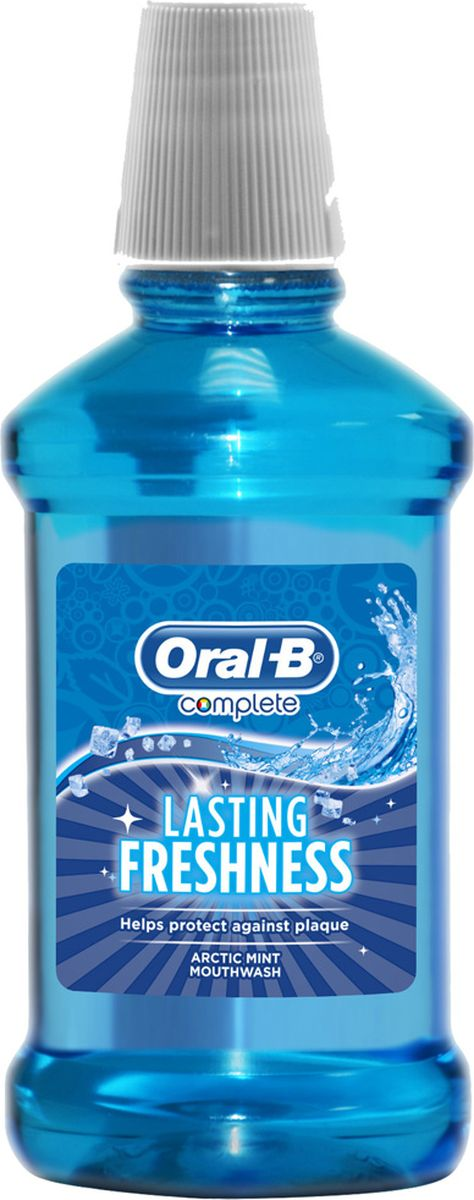 Oral-B ополаскиватель для полости рта Комплекс LASTING FRESHNESS Arctic Mint 250 млORL-81644262Ополаскиватель для полости рта Комплекс предотвращает образование зубного налета, борется с бактериями даже в труднодоступных местах и обеспечивает длительную свежесть дыхания.Обладает арктически свежим вкусом мяты. Содержит 11,5% спирта.