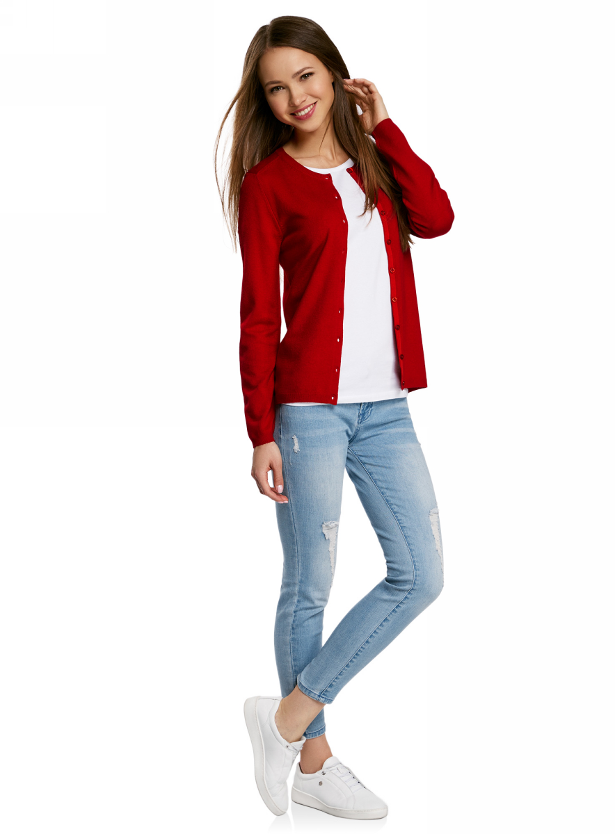 Жакет женский oodji Collection, цвет: красный. 73212401-1B/45904/4500N. Размер XL (50) жакет женский oodji collection цвет сиреневый меланж 73212401 1b 45904 8000m размер xxl 52