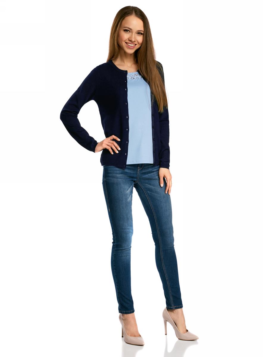 Жакет женский oodji Collection, цвет: темно-синий. 73212401-1B/45904/7900N. Размер L (48) жакет женский oodji collection цвет сиреневый меланж 73212401 1b 45904 8000m размер xxl 52