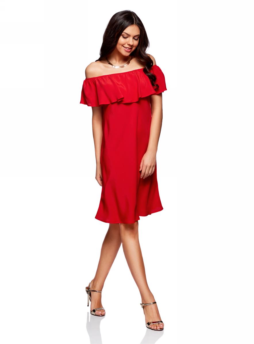 Платье oodji Ultra, цвет: красный. 11911020/42800/4500N. Размер 40/170 (46-170)11911020/42800/4500NЛегкое летнее платье выполнено из вискозы. Модель миди-длины с открытыми плечами.