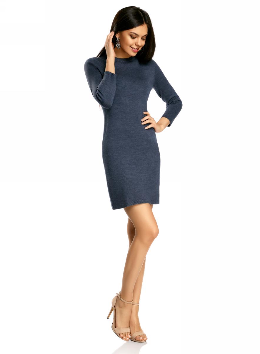 Платье oodji Ultra, цвет: синий меланж. 63912222-1B/46244/7500M. Размер M (46)63912222-1B/46244/7500MТрикотажное платье oodji изготовлено из качественного смесового материала. Облегающая модель выполнена с круглой горловиной и рукавами 3/4.