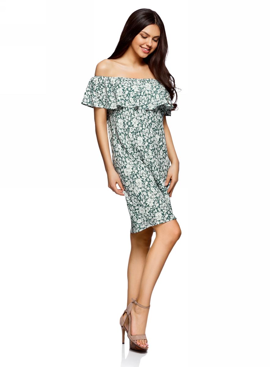 Платье oodji Ultra, цвет: темно-зеленый, белый, цветы. 11911020/42800/6912F. Размер 44/164 (50-164)11911020/42800/6912FЛегкое летнее платье выполнено из вискозы. Модель миди-длины с открытыми плечами.