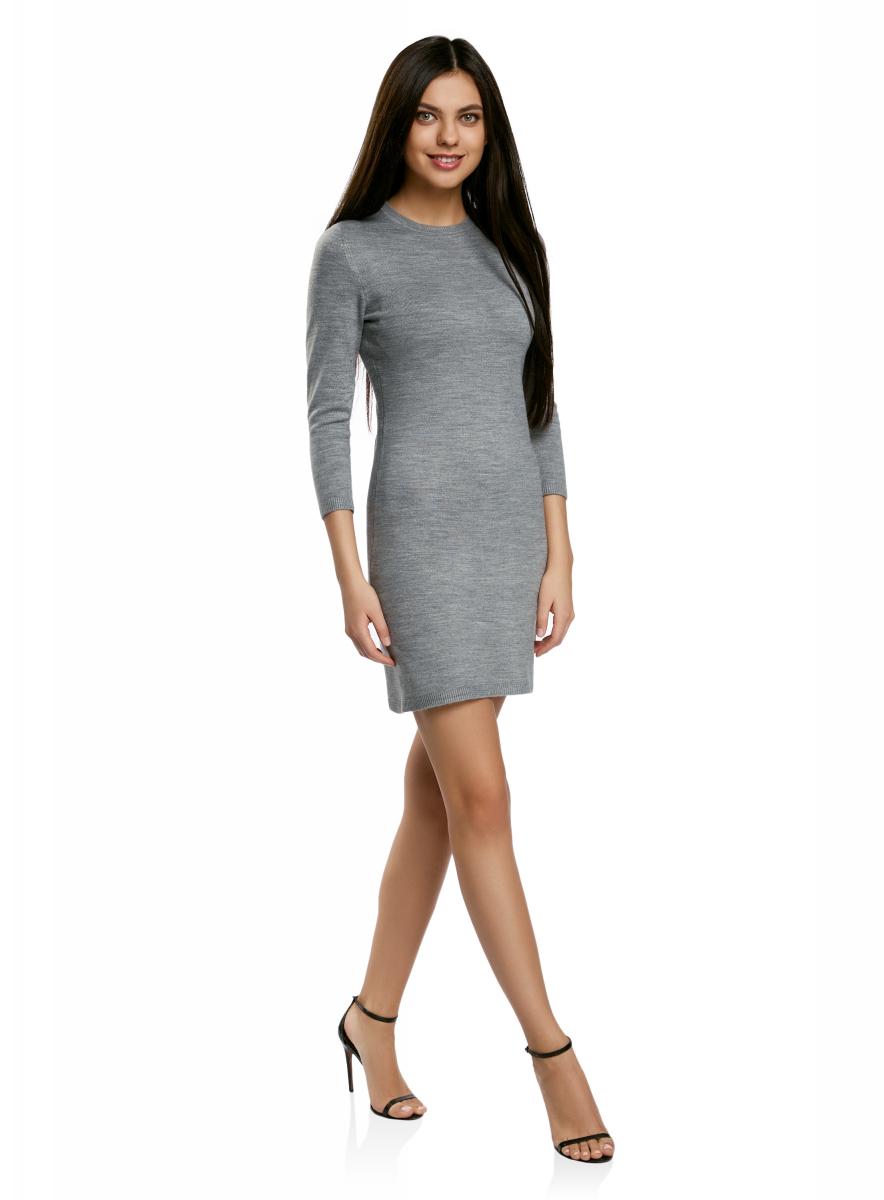 Платье oodji Ultra, цвет: темно-серый меланж. 63912222-1B/46244/2500M. Размер XXL (52)63912222-1B/46244/2500MТрикотажное платье oodji изготовлено из качественного смесового материала. Облегающая модель выполнена с круглой горловиной и рукавами 3/4.