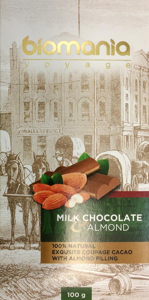 Biomania Voyage молочный шоколад с урбечом из миндаля, 100 г00-00000020Производитель использует благородные ароматические какао-бобы Тринитарио, Криолло (сегмента Premium - всего 5% от всех бобов в мире) и осуществляет селекцию поставщиков по каждому из ингредиентов.Неповторимый вкусДля получения идеального эксклюзивного вкуса и гармонии ароматов, Шоколатье исполняют оригинальное купажирование из различных видов шоколада. Know-howРучная работа. Максимально содержание орехов или семян (в 2 раза больше по сравнению с конкурентами!) в виде начинки из паст Урбеч от компании Биопродукты100% натуральность и качествоИсключительная натуральность всех ингредиентов и высокие стандарты качества производственного процесса.