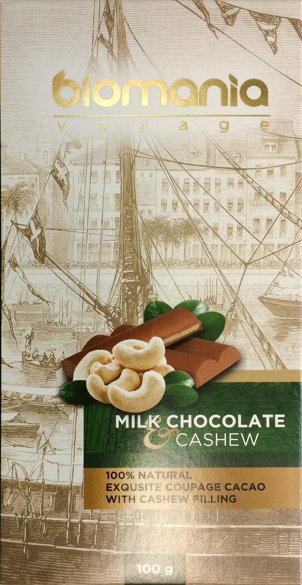 Biomania Voyage молочный шоколад с урбечом из кешью, 100 г00-00000018Ингредиенты для ШоколадаПроизводитель использует благородные ароматические какао-бобы Тринитарио, Криолло (сегмента Premium - всего 5% от всех бобов в мире) и осуществляет селекцию поставщиков по каждому из ингредиентов.Неповторимый вкусДля получения идеального эксклюзивного вкуса и гармонии ароматов, Шоколатье исполняют оригинальное купажирование из различных видов шоколада. Know-howРучная работа. Максимально содержание орехов или семян (в 2 раза больше по сравнению с конкурентами!) в виде начинки из паст Урбеч от компании Биопродукты100% натуральность и качествоИсключительная натуральность всех ингредиентов и высокие стандарты качества производственного процесса.