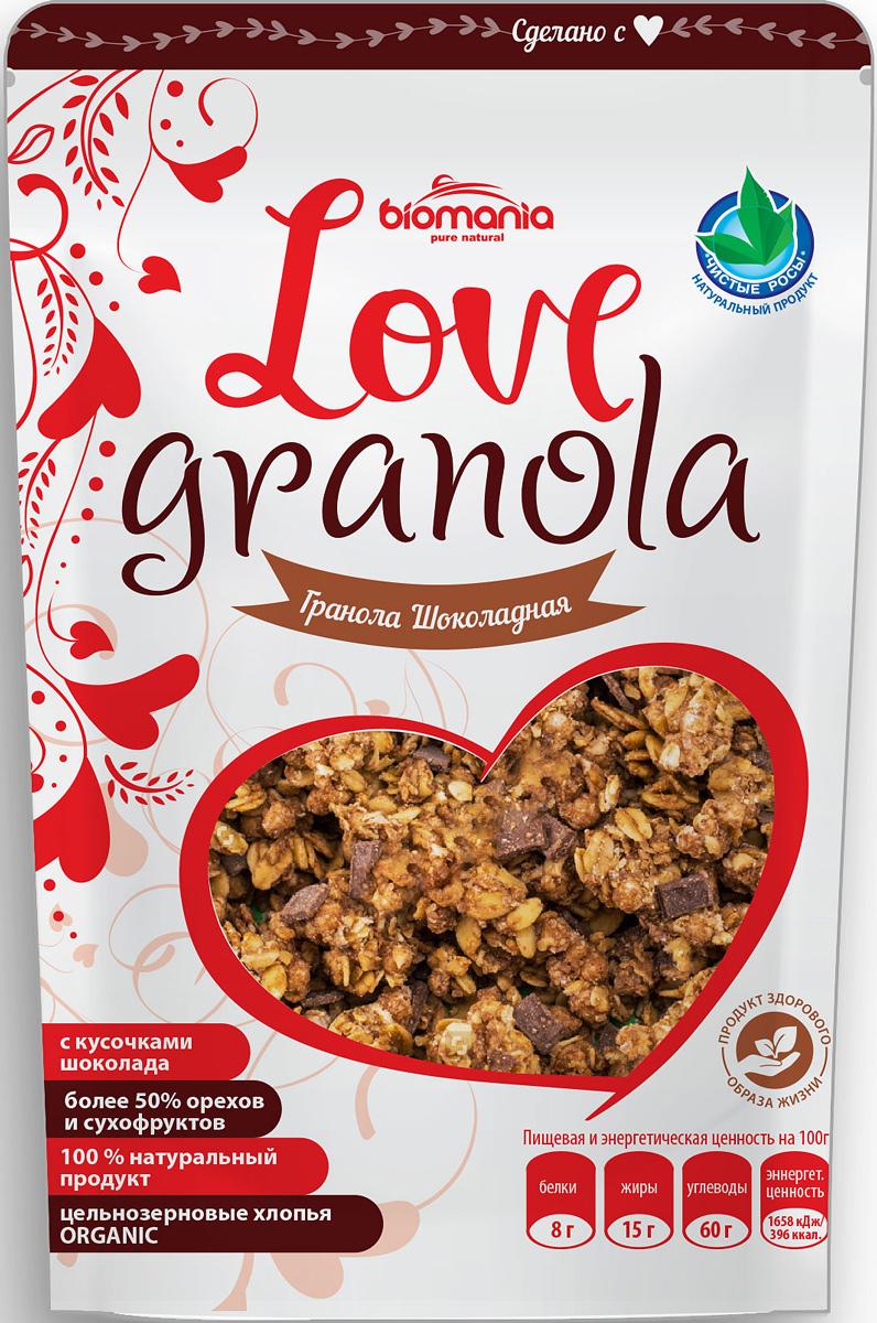 Biomania Love Granola гранола шоколадная, 360 г00-00000070Оригинальная смесь для лакомок порадует кусочками натурального шоколада с грецкими орехами, финиками, яблоками, клюквой в компании цельнозерновых овсяных и ржаных хлопьев и пикантных специй в финиковом сиропе.