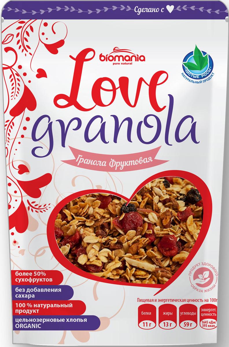 Biomania Love Granola гранола фруктовая, 360 г00-00000069Вкусно-лакомая смесь с высоким содержанием сухофруктов (финики, курага, чернослив, изюма), семян (подсолнечник, тыква, кунжут), яблочного пюре, мёда, финикового сиропа, специй и органических цельнозерновых овсяных хлопьев.