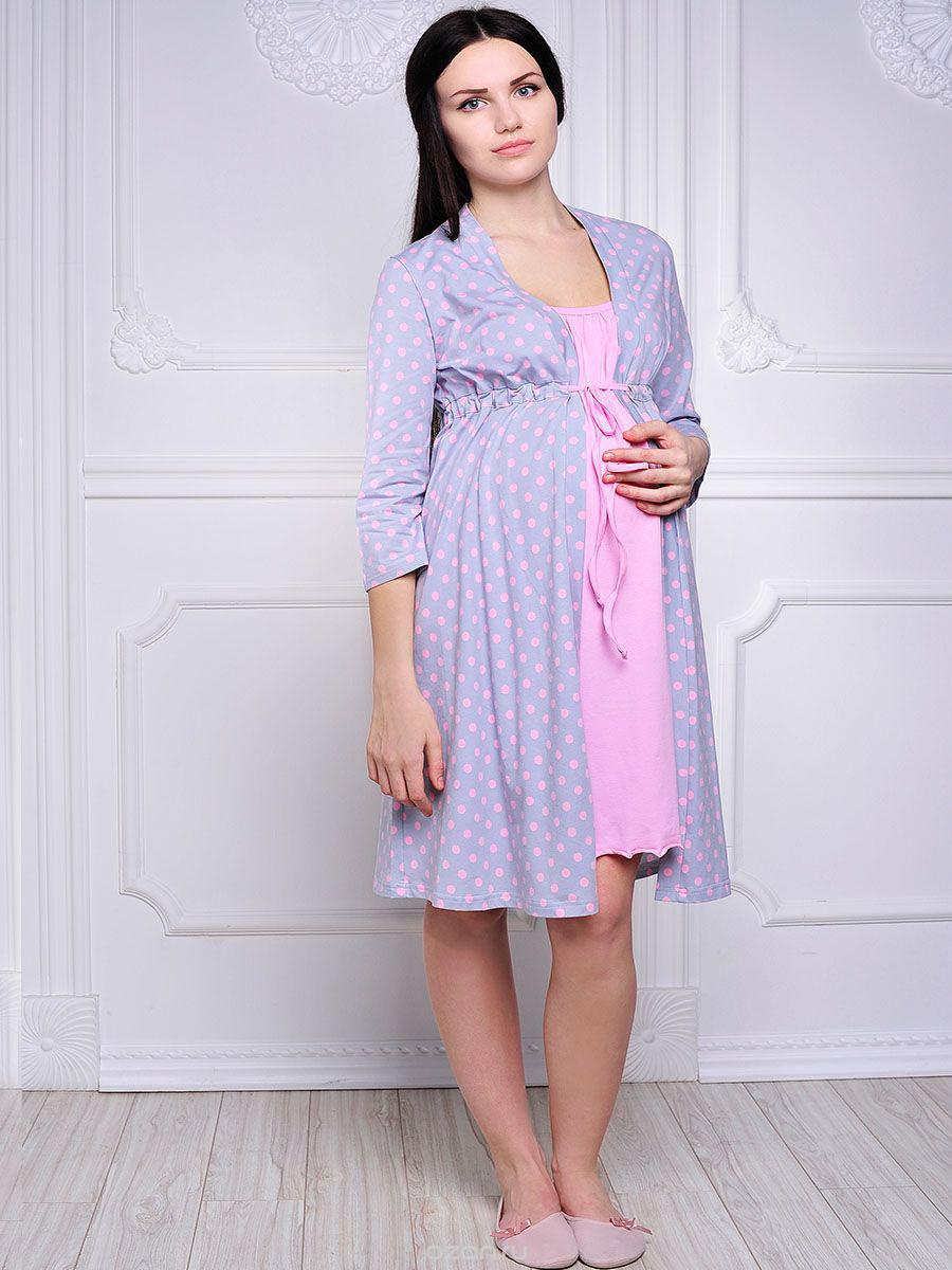 Комплект для беременных и кормящих Hunny Mammy: халат, сорочка ночная, цвет: розовый, серый. 1-НМК 09228. Размер 461-НМК 09228Удобный, красивый комплект для беременных и кормящих мам Hunny Mammy, изготовленный из эластичного хлопка, состоит из халата и сорочки, замечательно подходит для сна и отдыха. Халат на запах с длинными рукавами под грудью завязывается при помощи тонкой тесемки. Сорочка свободного кроя на тонких бретелях дополнена клипсами для кормления.Такой комплект сделает отдых будущей мамы комфортным.Одежда, изготовленная из хлопка, приятна к телу, сохраняет тепло в холодное время года и дарит прохладу в теплое, позволяет коже дышать.