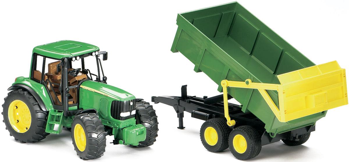 Bruder Трактор John Deere 6920 с прицепом трактор tomy john deere зеленый 19 см с большими колесами звук свет