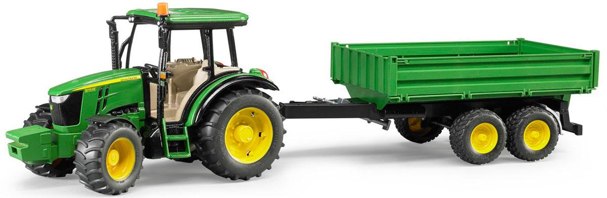 Bruder Трактор John Deere 5115M с прицепом машины tomy трактор john deere monster treads с большими резиновыми колесами