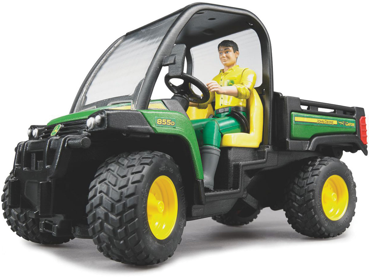Bruder Мини-самосвал John Deere Gator XUV 855D с фигуркой водителя