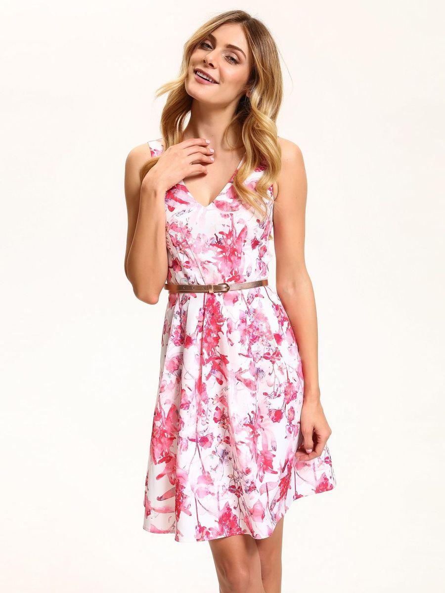 Платье Top Secret, цвет: белый, розовый. SSU1864BI. Размер 42 (50)SSU1864BIЭлегантное платье Top Secret, изготовленное из высококачественного полиэстера с добавлением эластана, станет отличным дополнением к вашему гардеробу. Модель с V-образным вырезом горловины без рукавов на спинке застегивается на потайную застежку-молнию. Складки на юбке дарят образу романтичность. В поясе модель дополнена нешироким ремешком. Стильное платье оформлено нежным цветочным принтом.