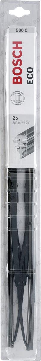 Щетка стеклоочистителя Bosch Eco 500С, каркасная, длина 50 см, 2 шт3397005695Универсальная щетка Bosch Eco 500С - функциональный стеклоочиститель с металлическими скобами, который характеризуется хорошей эффективностью очистки и качеством. Каркас щетки выполнен из металла с антикоррозийным покрытием и имеет форму, способствующую уменьшению подъемной силы на высоких скоростях. Натуральная резина щетки с графитовым напылением обеспечивает тщательность очистки. Щетка имеет крепление крючок. Быстрый монтаж, благодаря предварительно установленному универсальному адаптеру Quick Clip.Тип крепления: 1.