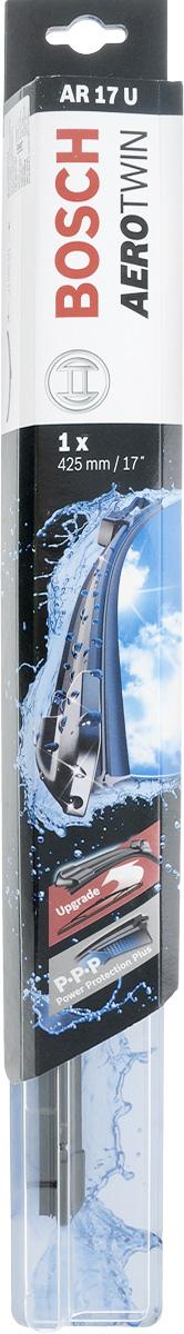 Щетка стеклоочистителя Bosch AR17U, бескаркасная, со спойлером, длина 42,5 см3397008531Бескаркасная универсальная щетка Bosch AR17U, выполненная по современной технологии из высококачественных материалов, предназначена для установки на стекло автомобиля. Отличается высоким качеством исполнения и оптимально подходит для замены оригинальных щеток, установленных на конвейере. Обеспечивает качественную очистку стекла в любую погоду. Изделие оснащено многофункциональным адаптером Multi-Clip, который превосходно подходит для наиболее распространенных типов креплений. Простой и быстрый монтаж. AEROTWIN - серия бескаркасных щеток компании Bosch. Щетки имеют встроенный аэродинамический спойлер, что делает их эффективными на высоких скоростях, и изготавливаются из многокомпонентной резины с применением натурального каучука.Тип крепления: 1.