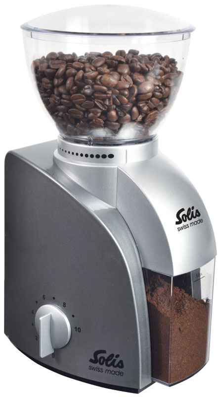 Solis Scala, Silver кофемолкаScala Coffee grinder silverSolis Scala - это компактная и легкая кофемолка. Корпус выполнен из пластика. Сверху находится чаша, которую легко снять и в ней можно хранить кофейные зерна. Прочные долговечные конический жернова изготовлены из нержавеющей стали. Благодаря регулировке темпа помола и установки времени, вы можете контролировать точную дозировку кофе.