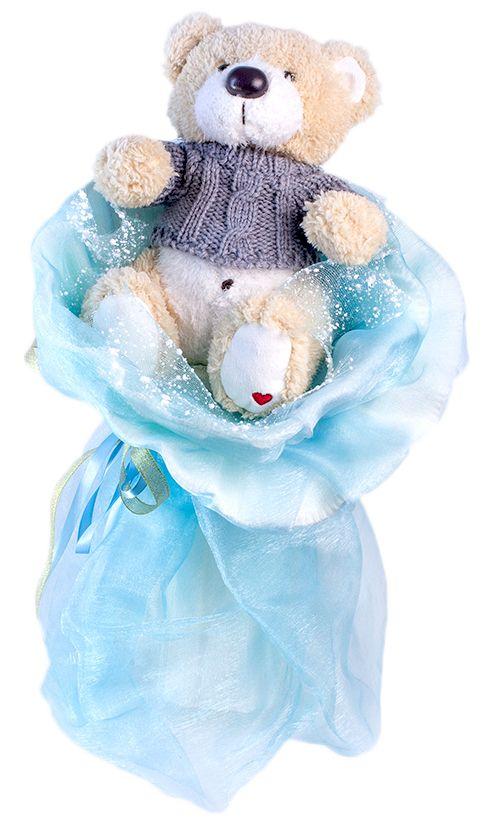 Букет из игрушек Toy Bouquet Большой мишка, цвет: голубой, 1 игрушкаBB004-1Букет из одного крупного плюшевого мишки оформлен в облако нежной струящейся органзы, и обрамлен в воздушное боа, перевязанный широкой лентой из органзы с добавлением серебристой парчовой тесьмы.Букет из игрушек – это идеальный подарок, который подойдет к любому празднику, событию или торжеству.