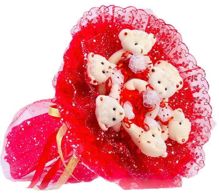 Букет из игрушек Toy Bouquet Медвежата Зефирки, цвет: красный, 7 игрушекBZ005-7-31Букет из 7 мягких плюшевых мишек упакован в воздушную флористическую сетку красного цвета, декорирован нежным кружевом по краю букета и перевязан широкой атласной лентой с добавлением серебристой парчовой тесьмы.Букет из игрушек – это идеальный подарок, который подойдет к любому празднику, событию или торжеству.