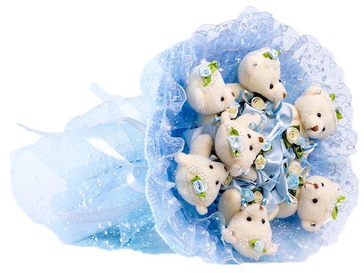 Букет из игрушек Toy Bouquet  Медвежата  Зефирки , цвет: голубой, 7 игрушек - Украшения